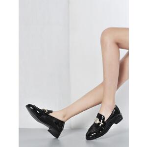 2017春季真皮单鞋女欧美风粗跟深口漆牛皮女鞋黑色圆头方跟0848