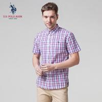 衬衫男短袖夏季纯棉新款美式商务休闲短袖格子衬衣U.S. POLO ASSN.