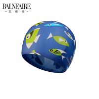 范德安儿童防水硅胶泳帽 男女童通用长发舒适防晒护耳训练游泳帽.