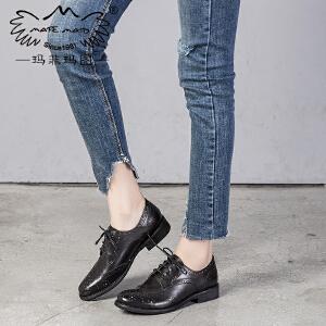 玛菲玛图矮跟单鞋女2017新款百搭方跟英伦文艺复古学院风系带牛津鞋小皮鞋1723-3D秋季新品