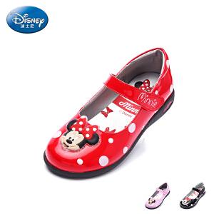 迪士尼童鞋2017年夏季新款米妮头儿童皮鞋小童时装灯鞋学生鞋单鞋