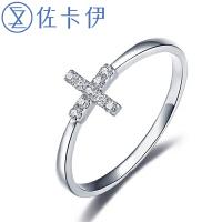 佐卡伊白18k金十字架钻石戒指/吊坠/手链三款可选 新款珠宝