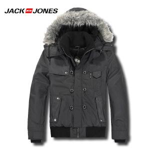 杰克琼斯秋冬季男士简约纯色修身休闲短款保暖棉服27-5-1-211422029010