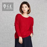红莲 秋装女士纯山羊绒圆领短款时尚复古毛衣
