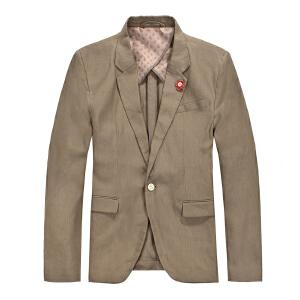 思莱德春季男士时尚修身简约翻领免烫纯棉西服 6-3-6-413208012124