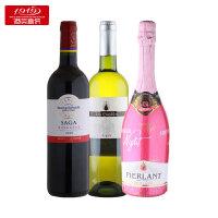 【1919酒类直供】经典热销葡萄酒组合装 组合商品:拉菲传说波尔多红葡萄酒(红标/蓝标),巴黎之夜桃红起泡葡萄酒,金水滴白葡萄酒