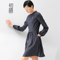 初语冬季新款 格纹灯笼袖插袋A摆修身长袖连衣裙女8442412075