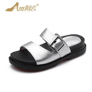 【17新品】阿么凉拖鞋舒适平底厚底中跟皮带扣套脚女鞋沙滩鞋潮