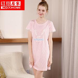 红豆居家女士春夏纯棉睡衣 女式全棉卡通小兔印花针织短袖睡裙