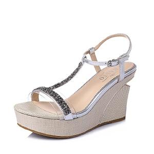BASTO/百思图夏季专柜同款 山羊革女皮凉鞋TG506BL6