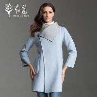 红莲 秋装女式羊毛大衣时尚简约欧美风外套