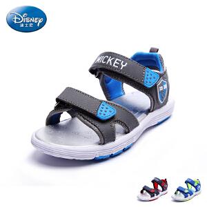 迪士尼凉鞋2017夏季新款儿童鞋男童露趾沙滩鞋中小童魔术贴凉鞋户外鞋