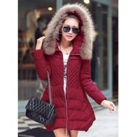 女士精品 棉衣/棉服修身韩版中长款连帽冬装袄
