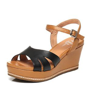 BATA/拔佳夏季专柜同款牛皮坡跟女凉鞋AYF10BL6