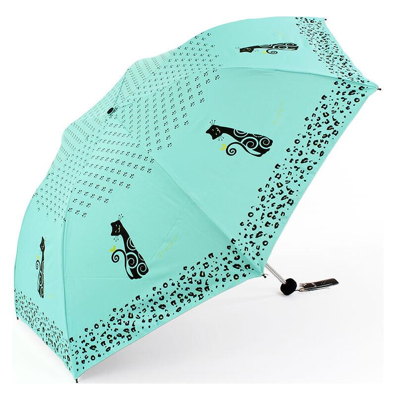 天堂伞 可爱小猫晴雨伞 黑胶三折防晒伞 防紫外线遮阳伞 伞约180克