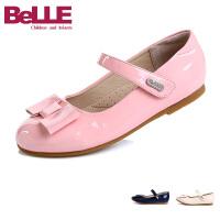 Belle/百丽童鞋女童单鞋儿童皮鞋平跟2016春秋季新款蝴蝶结漆皮浅口女鞋