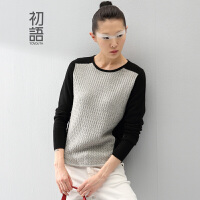 初语冬季新款 撞色麻花纹拼接显瘦保暖羊绒衫毛衣文艺常规款女8440423171