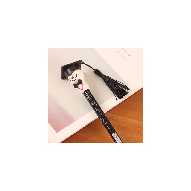 韩版可爱博士帽中性笔水笔黑色流苏帽博士卡通学生写字笔黑笔0.38mm