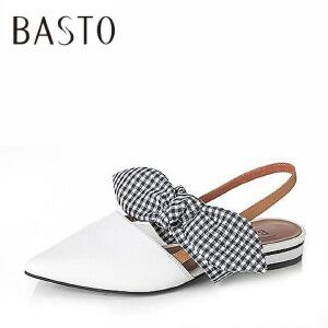 BASTO/百思图2017夏季羊皮/格纹布蝴蝶结方跟后空女凉鞋SFA22BL7