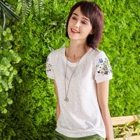 艾蓓怡通勤女装泡泡袖上衣纯色t恤女短袖小衫女2017新款韩版DTXD170649
