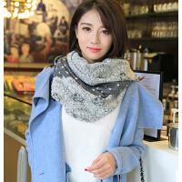 保暖加厚日系甜毛线针织围巾女冬季美蕾丝提花波点披肩