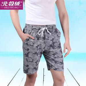 北极绒男士沙滩裤男睡裤宽松居家裤舒适印花短裤衩