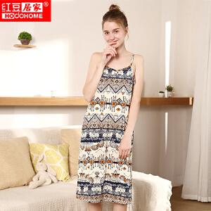【秒杀包邮】红豆居家春季新款新款纯棉睡衣 女士全棉波西米亚风针织印花性感吊带裙