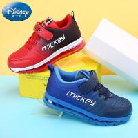 迪士尼新款儿童运动鞋中大童男童气垫鞋米奇加绒亲子鞋保暖户外鞋DS2026