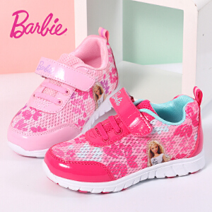 芭比童鞋 女童运动鞋品牌2017年春夏网面透气耐磨儿童跑步鞋