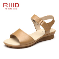 RIIID女鞋夏季新款平底凉鞋女真皮平跟防滑中老年妈妈鞋