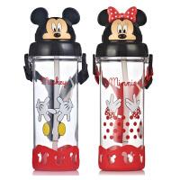 迪士尼塑料杯子防漏背带吸管杯创意儿童水壶学生便携夏天水杯