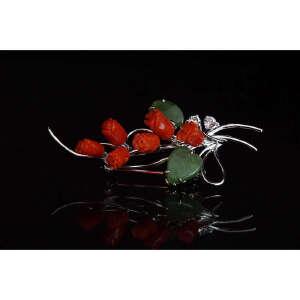现代 珊瑚玫瑰胸针