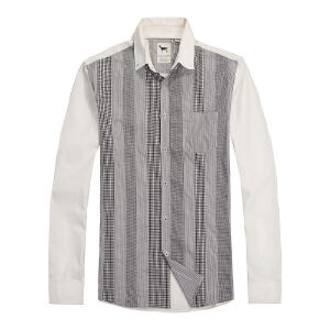 思莱德春季男士简约修身拼接竖条纹长袖衬衫2-2-4-413105037010
