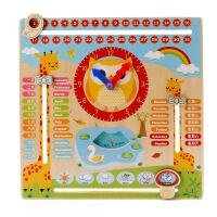 木质时钟益智立体拼图玩具卡通日历木制配对儿童益智力认知玩具