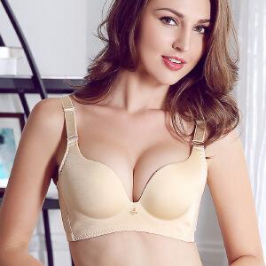 新款小胸聚拢纯色无痕无钢圈按摩调整型女士文胸