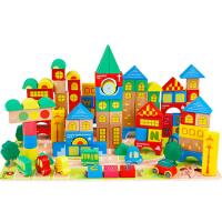 巧之木 150粒数字字母认知七巧板城市场景交通积木 宝宝玩具 花色