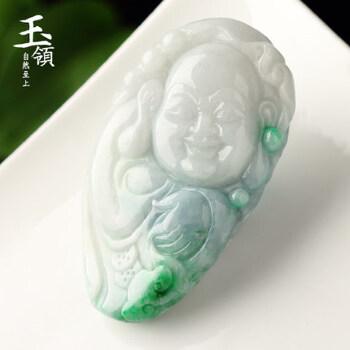 天然翡翠笑佛手把件冰糯种阳绿玉佛把玩揭阳工精雕