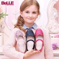 百丽童鞋儿童时装鞋皮鞋女童学生鞋舞蹈鞋方口鞋韩版DE0154