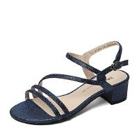 Tata/他她夏季专柜同款亮片布女凉鞋2US08BL6 专柜1