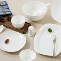 【当当自营】SKYTOP斯凯绨 碗盘碟陶瓷骨瓷餐具套装 22头白瓷方形