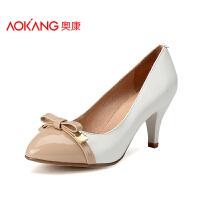 奥康女鞋春季新款韩版英伦真皮浅口单鞋女OL职业高跟鞋通勤鞋
