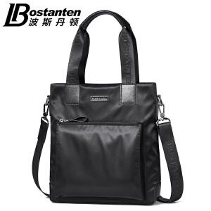 波斯丹顿2017新款男包竖款商务休闲手提包帆布包单肩斜挎包公文包B1164092