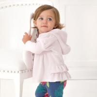 davebella戴维贝拉秋冬女宝宝连帽开衫卫衣外出外套 婴儿拉链衫