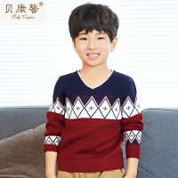 【当当自营】贝康馨童装 男童菱形块套头毛衫 韩版时尚经典图案针织毛衫新款秋装