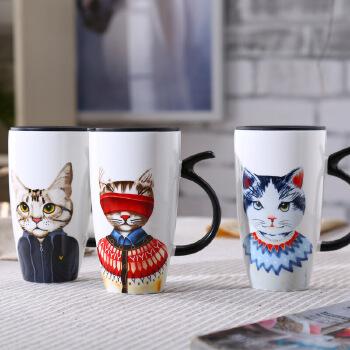 【书雅陶瓷/马克杯】卡通猫杯子陶瓷大号水杯马克杯