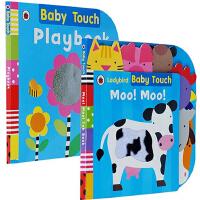 英文原版 Ladybird Baby Touch Twinkle Lullaby Moo Moo 2册儿童启蒙纸板触摸书