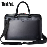 联想ThinkPad 13寸14寸皮质单肩背包商务笔记本电脑包手提公文包防水皮革学生书包旅行包 男士女士通用苹果T300