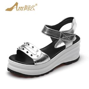 阿么2017夏季新款时尚铆钉凉鞋学院风松糕跟女鞋高跟厚底学生鞋子