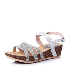 Teenmix/天美意夏季山羊皮优雅时尚坡跟女凉鞋6YE03BL6