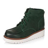 Teenmix/天美意专柜同款磨砂牛皮革女皮靴6C240DD5